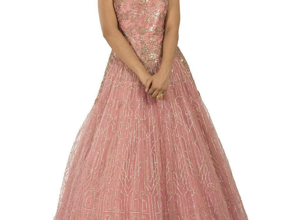 Pink Base Party Wear Gown with Light Gold Sequence Work (Style Code: 2366033)