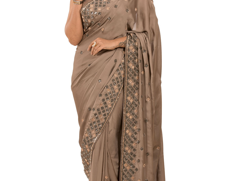 Lead Grey Designer Satin Saree with Stone Work & Blouse (Style Code: 2380032)