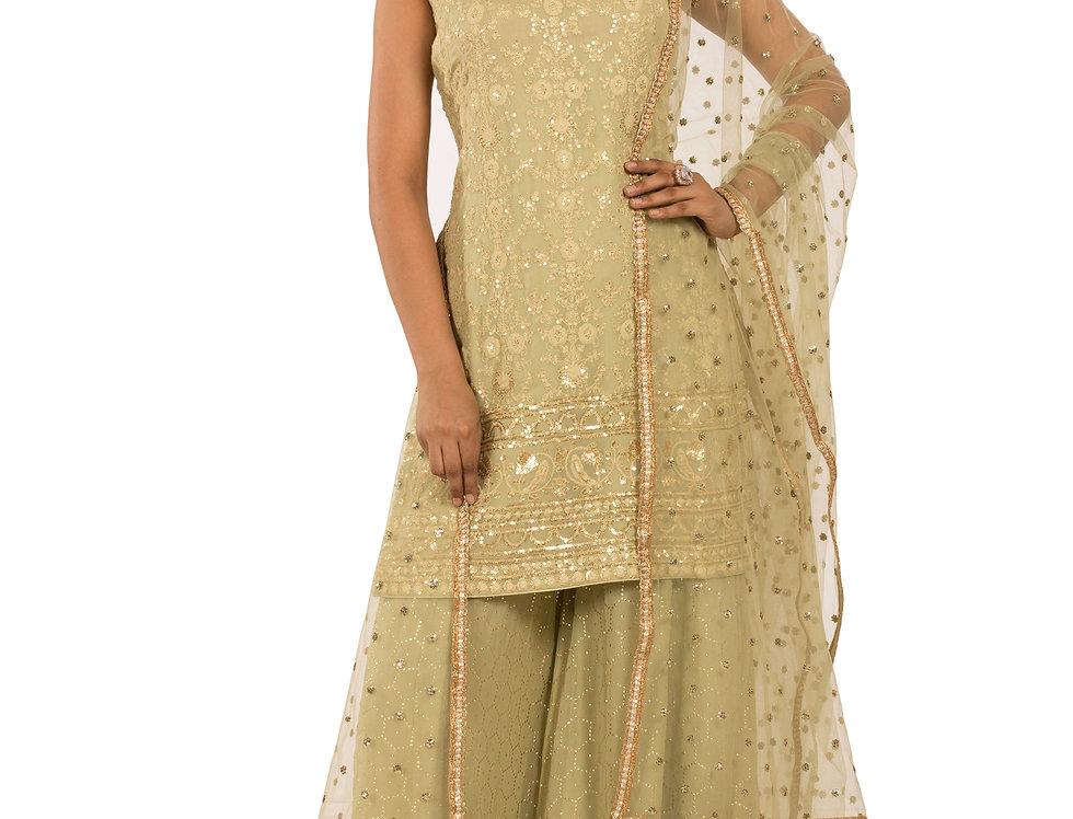 Pista Green Readymade Georgette Suit,  Sharara & Dupatta (Style Code: 2389297)