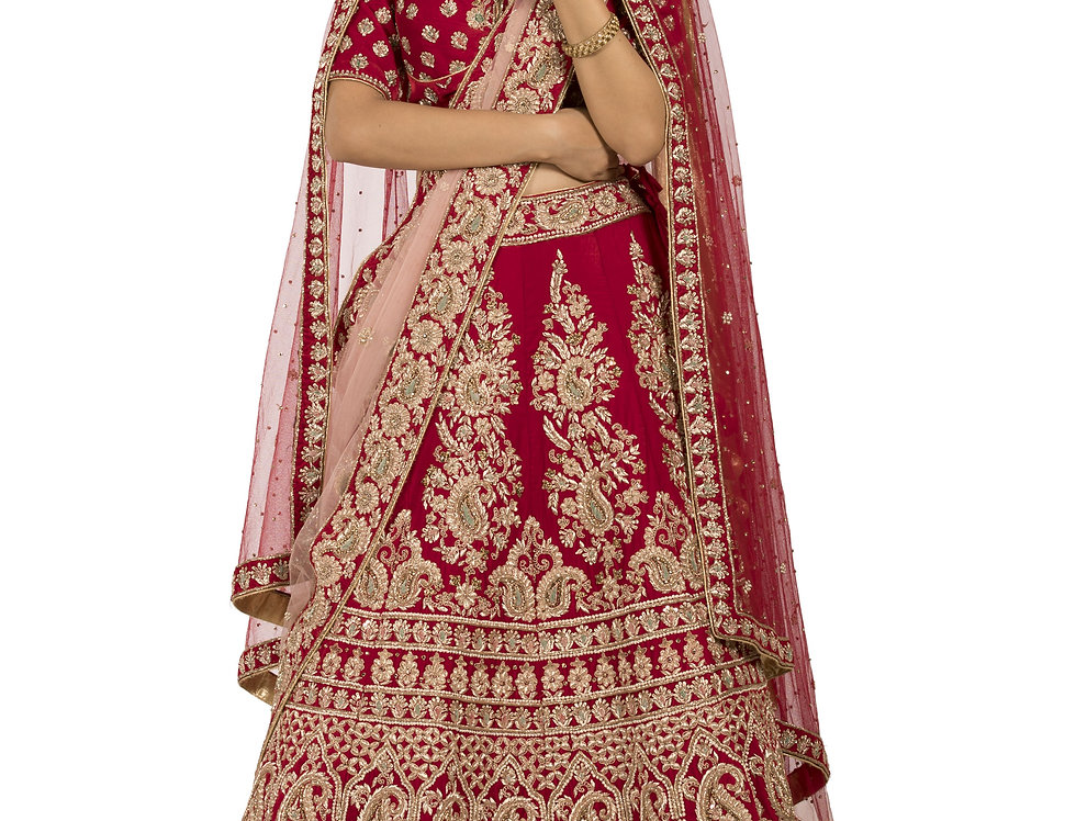 Red Base Velvet Lehenga with Two Separate Dupattas (Style Code: 2329004)
