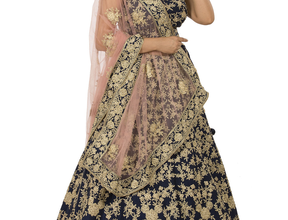 Blue Base Silk Lehenga with Contrast Pink Dupatta (Style +Code: 2294425)