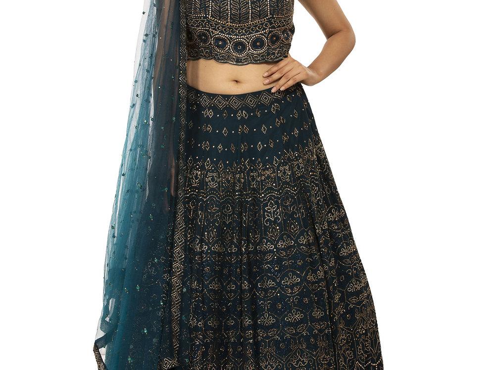 Midnight Blue Party Wear Lehenga with Swarovski Work (Style Code: 2388398)