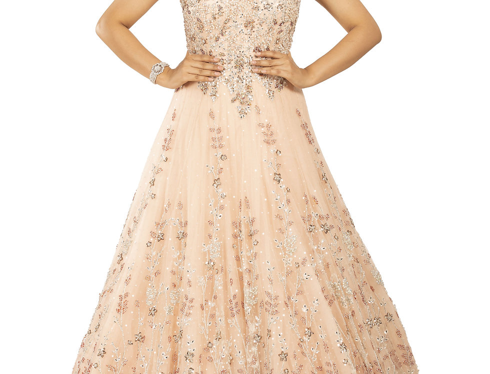 Peach Base Party Wear Gown with Zari Work (Style Code: 2375499)