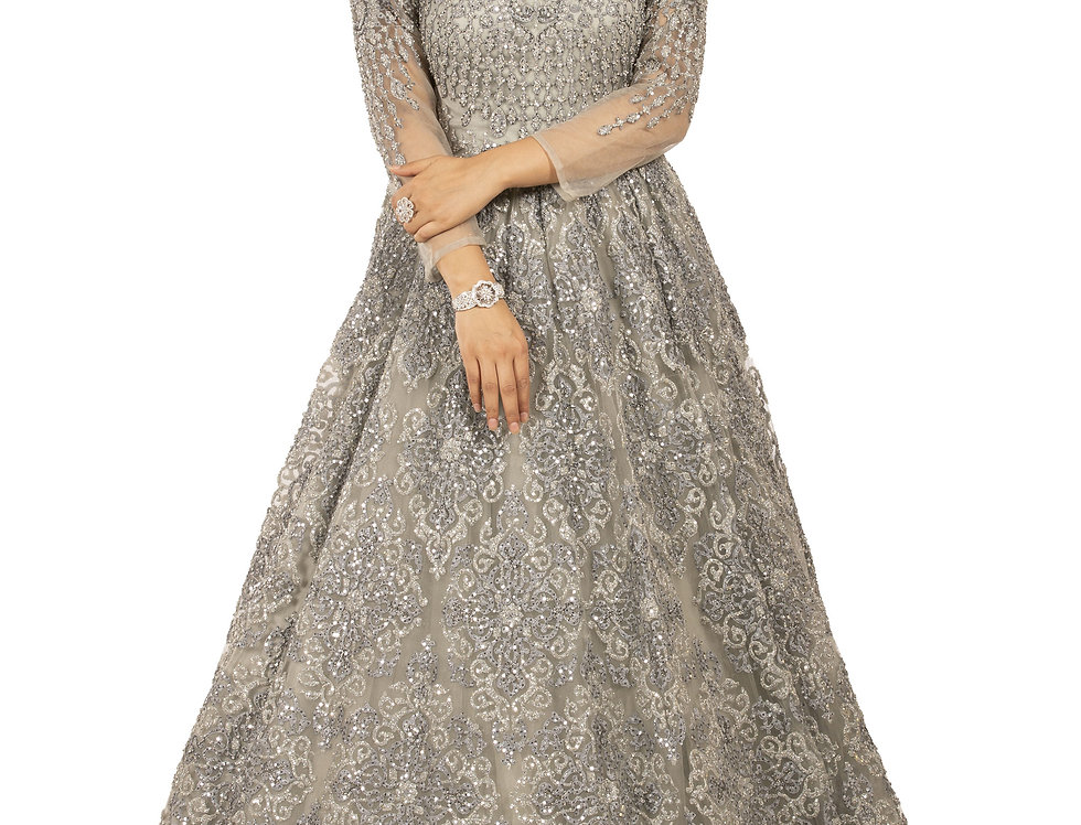 Grey Base Party Wear Gown with Grey & Silver Zari Work (Style Code: 2342567)