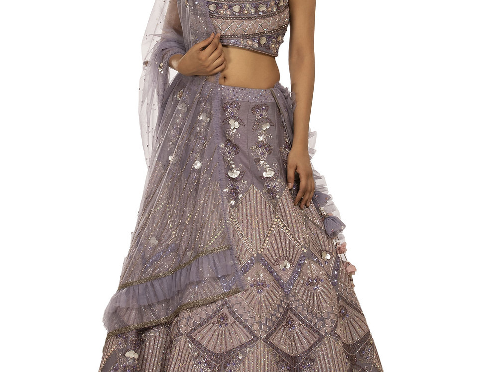 Lilac Party Wear Lehenga with Sequence Cut Dana Work (Style Code: 2367358)