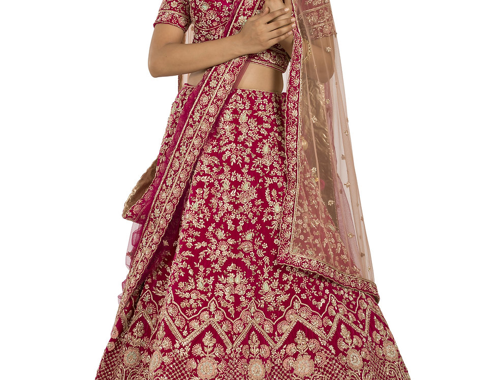 Magenta Base Velvet Lehenga with Two Separate Dupattas (Style Code: 2380824)