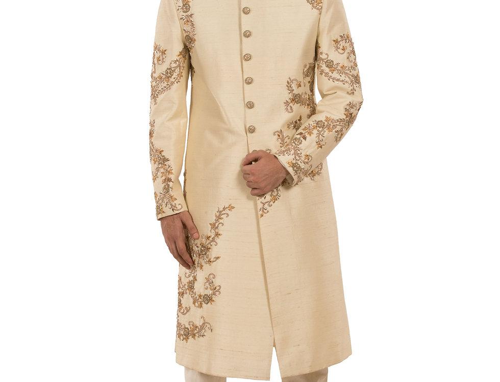 Light Gold Dupion Sherwani with Zardozi & Resham Work (Style Code: 2383837)