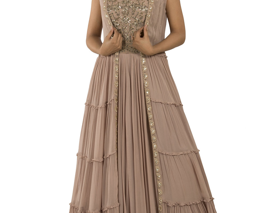 Mauve Base Readymade Floor Length Suit with Jacket (Style Code: 2389254)