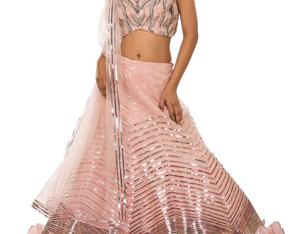 Baby Pink Party Wear Lehenga with Leather Applique Work (Style Code: 2355474)