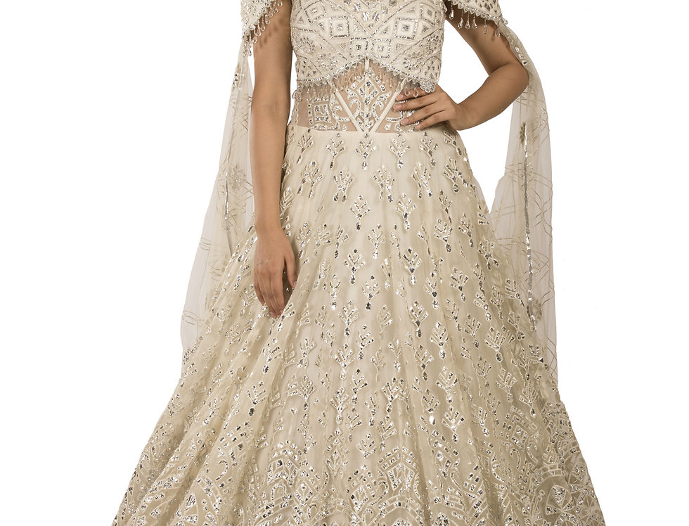Off White Party Wear Gown with Stylish Drape Style Veil (Style Code: 2371893)
