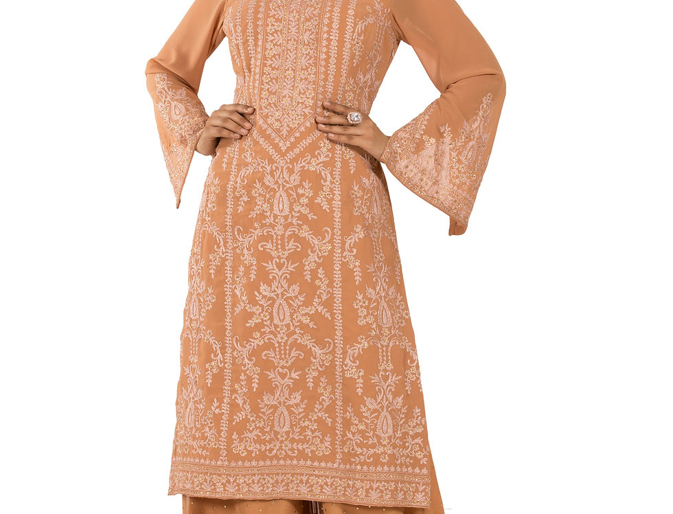 Dusty Peach Base Readymade Georgette Suit with Sharara (Style Code: 2319270)