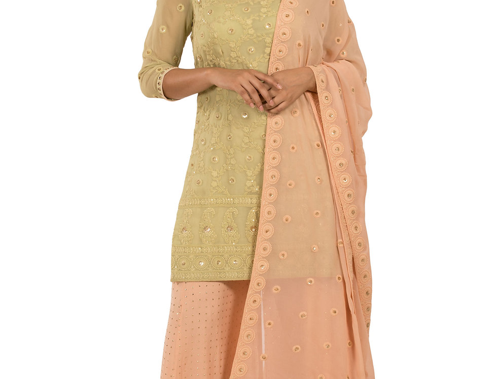 Mustard & Peach Base Readymade Suit with Sharara & Dupatta (Style Code: 2367238)