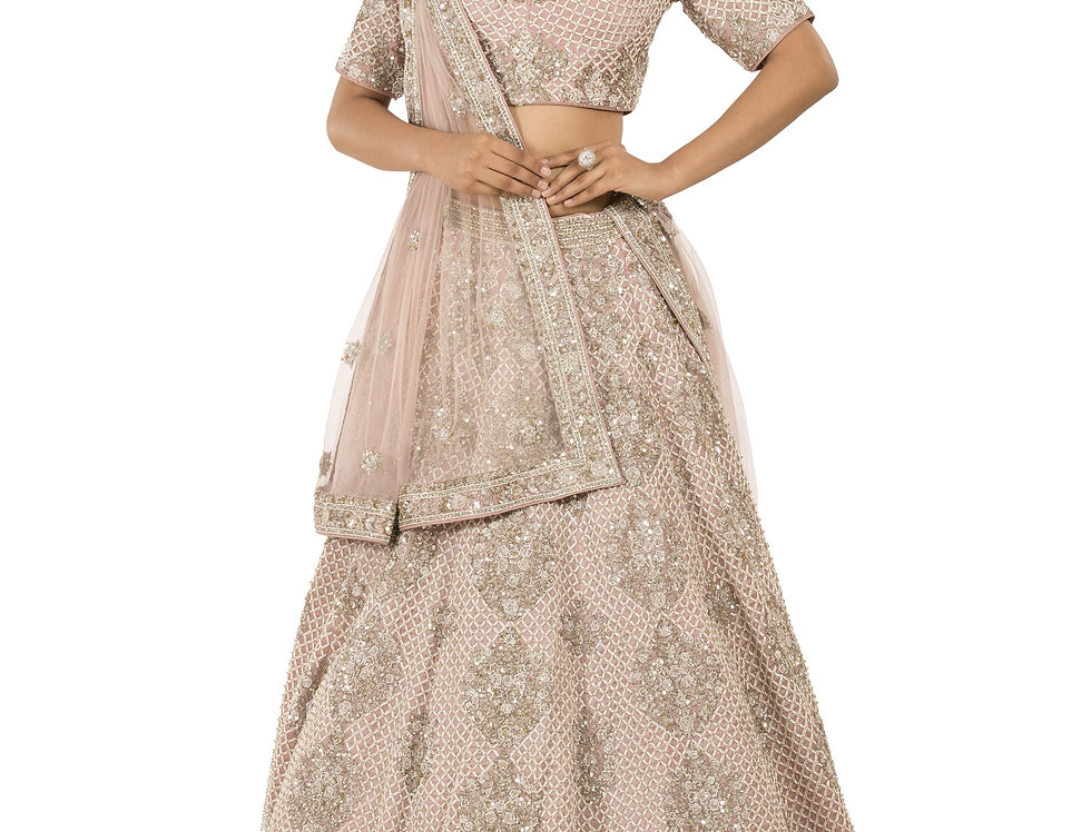 Rose Pink Lehenga with Cut Dana Sequence Work with Dupatta (Style Code: 2379927)
