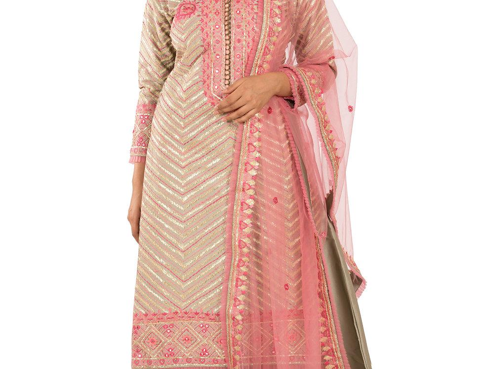 Grey Base Readymade Silk Suit with Sharara & Dupatta (Style Code: 2386970)