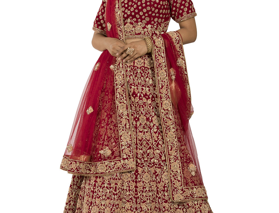 Red Velvet Lehenga with Zardozi & Sequence Work & Dupatta (Style Code: 2283788)