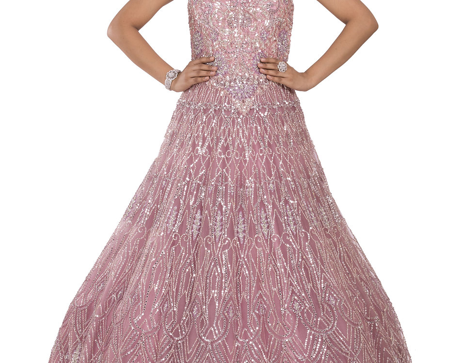 Pink Party Wear Gown with Silver Sequence & Crystal Work (Style Code: 2390857)
