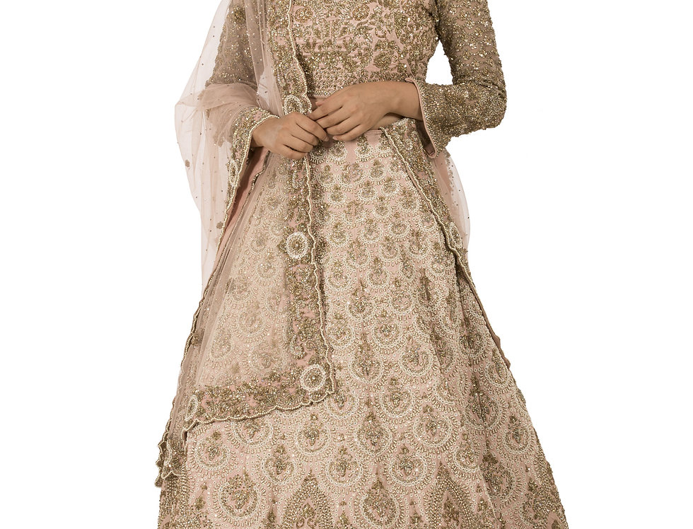 Peach Silk Lehenga with Pearl & Sequence Work with Dupatta (Style Code: 2288310)
