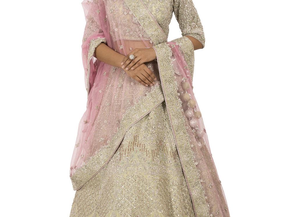 Sea Green Silk Lehenga with Contrast Pink Dupatta (Style Code: 2381974)