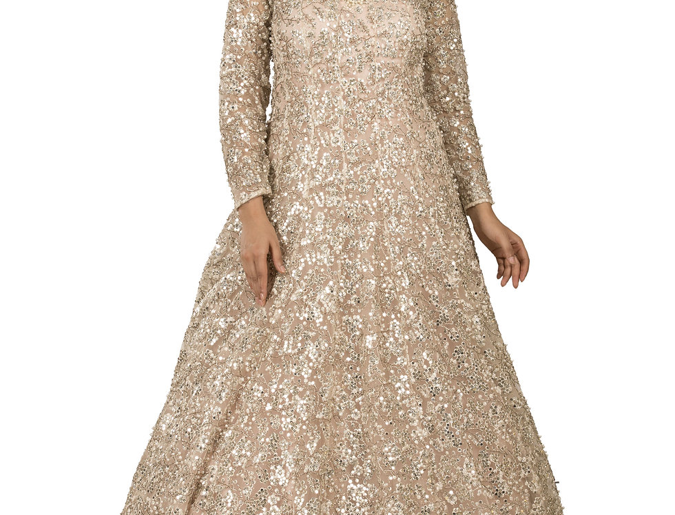 Light Peach Party Wear Gown with Heavy Silver Embroidery (Style Code: 2338864)
