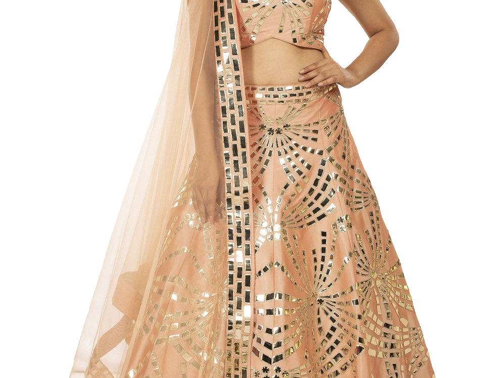 Peach Party Wear Lehenga with Leather Applique Work (Style Code: 2313616)