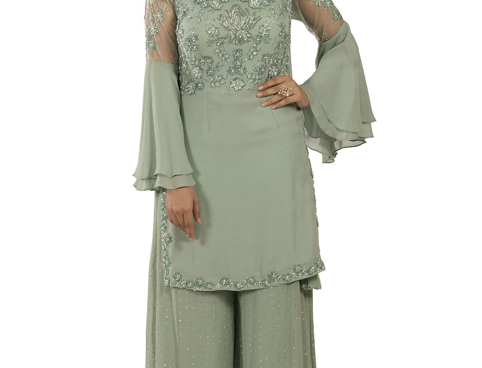 Pista Base Readymade Suit with Sharara & Dupatta (Style Code: 2380627)