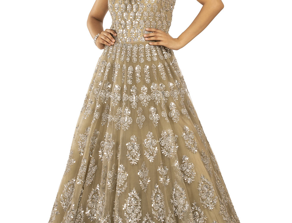 Mud Green Base Party Wear Gown with Stylish Frill Design (Style Code: 2373185)
