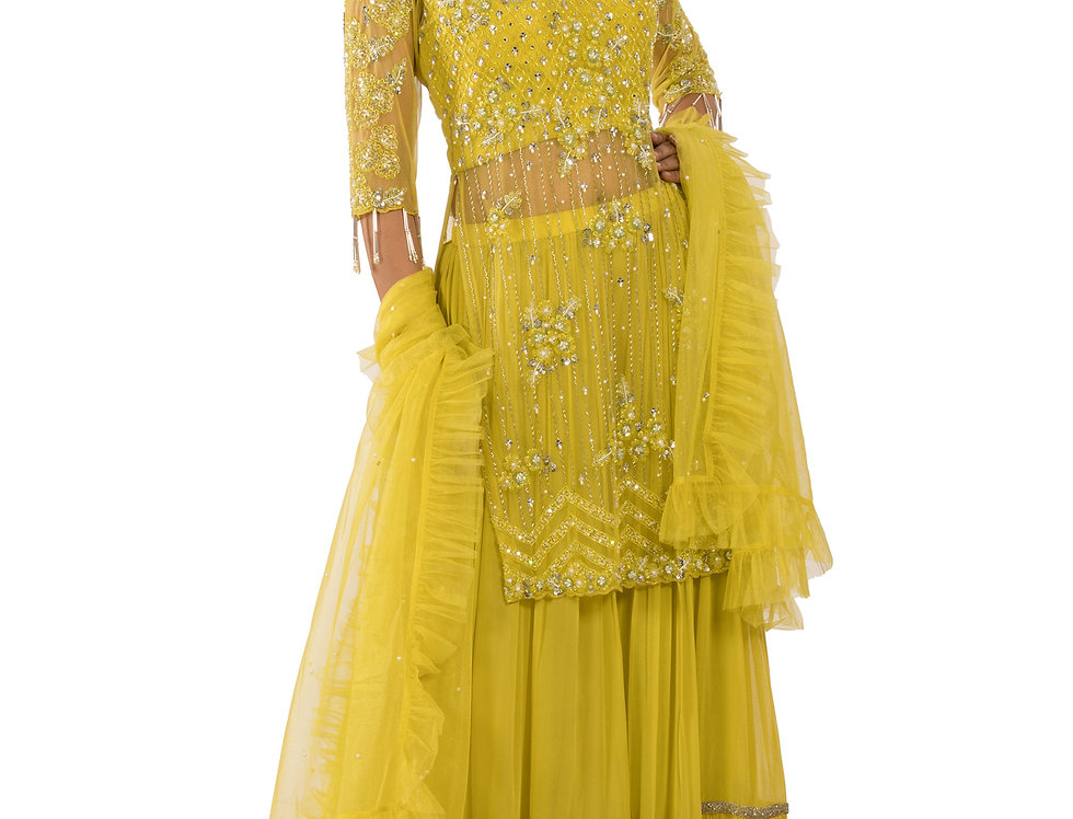 Neon Yellow Readymade Suit with Sharara & Dupatta (Style Code: 2390434)