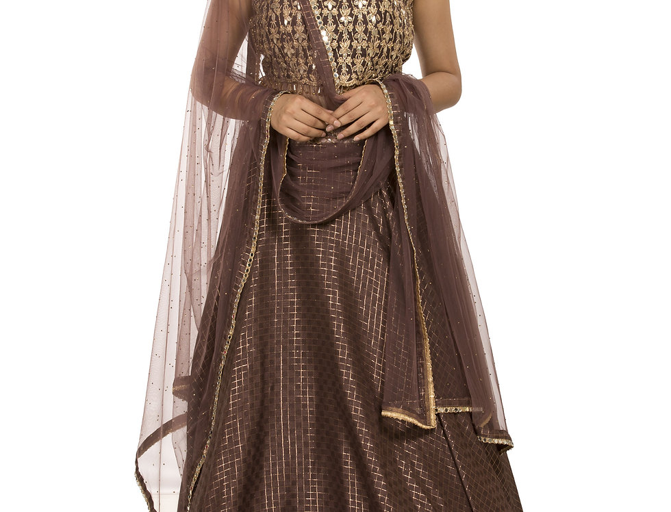 Chocolate Brown Party Wear Jacquard Embroidered Lehenga (Style Code: 2387400)