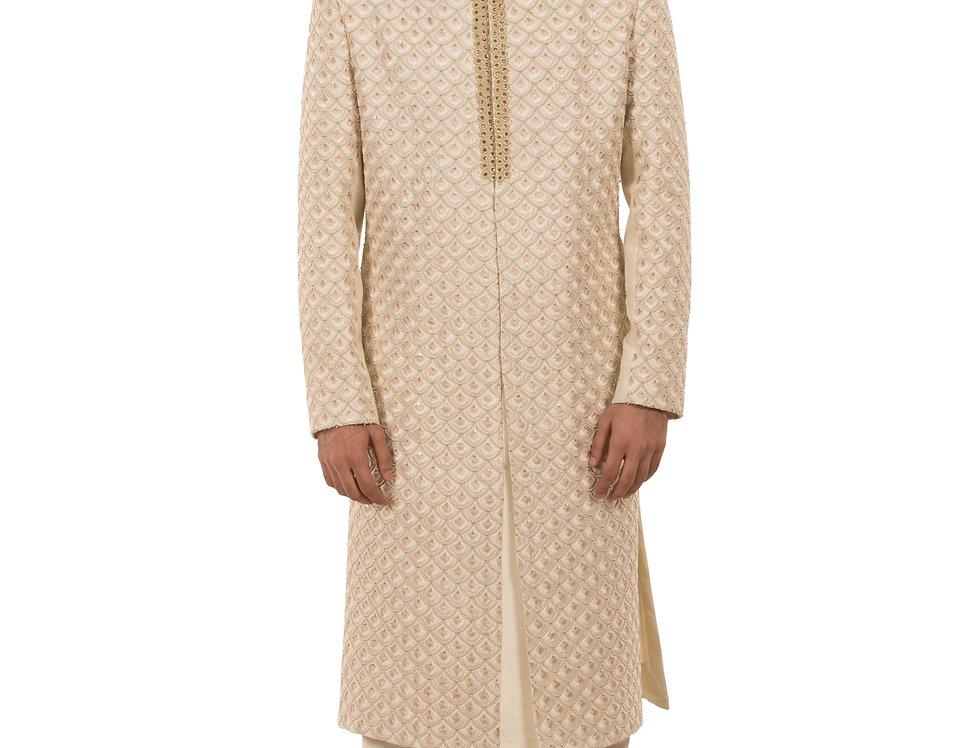 Cream Base Dupion Sherwani with Resham & Moti Embroidery (Style Code: 2386049)