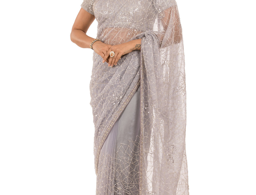 Grey Base Saree with Cut Dana & Stone Work with Blouse (Style Code: 2387926)