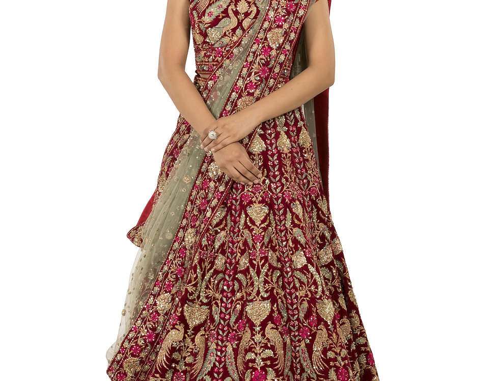 Deep Red Velvet Lehenga with Grey Dupatta (Style Code: 2379925)