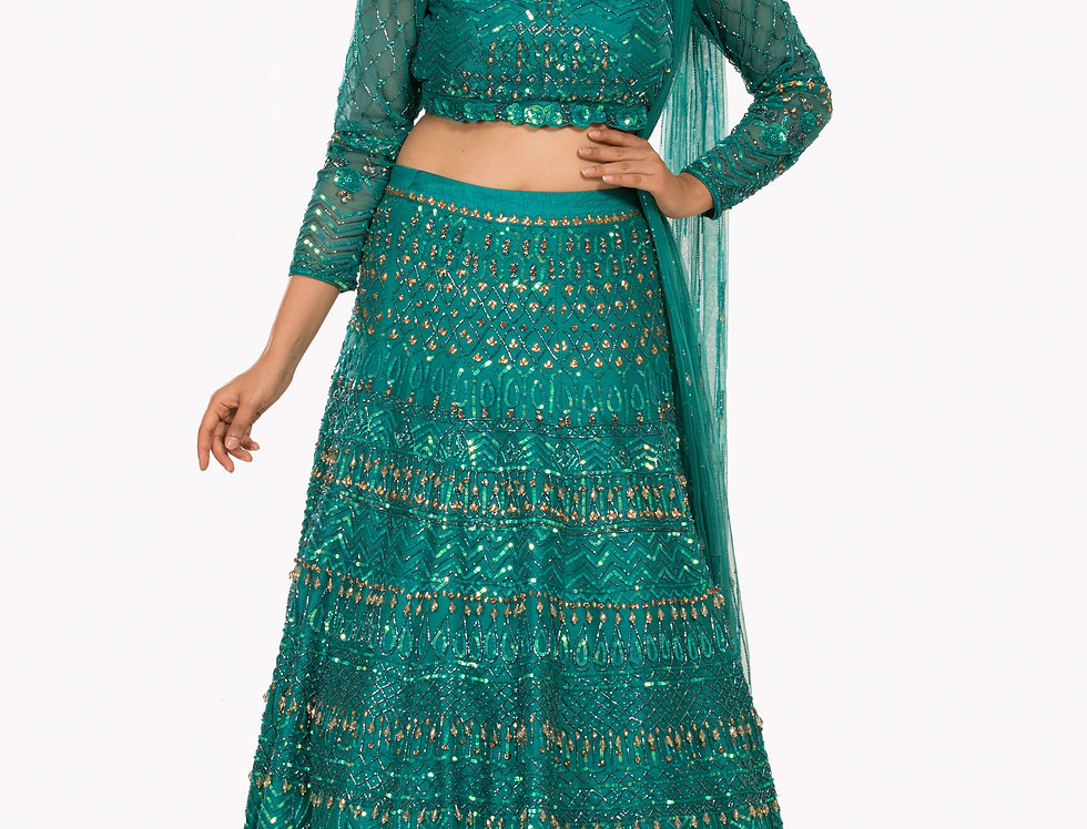 Teal Party Wear Lehenga with Self Sequence Work (Style Code: 2381759)