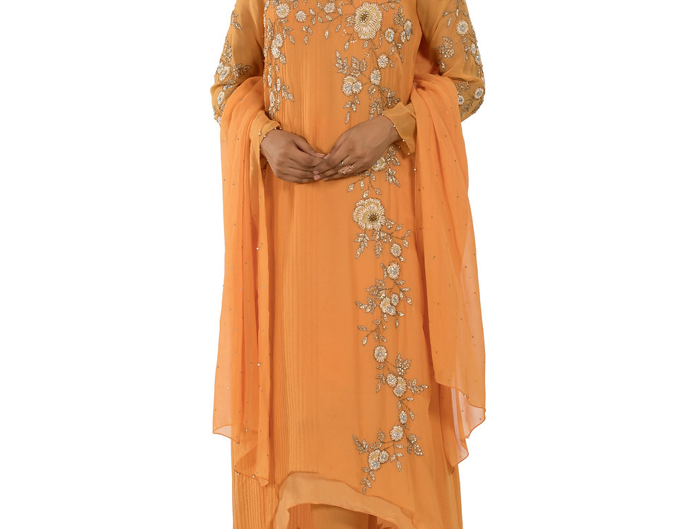 Light Orange Base Indo-Western Designer Suit with Dupatta (Style Code: 2290073)