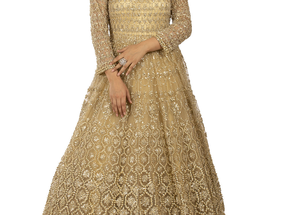 Gold Base Party Wear Gown with Gold Sequence & Pearl Work (Style Code: 2338862)