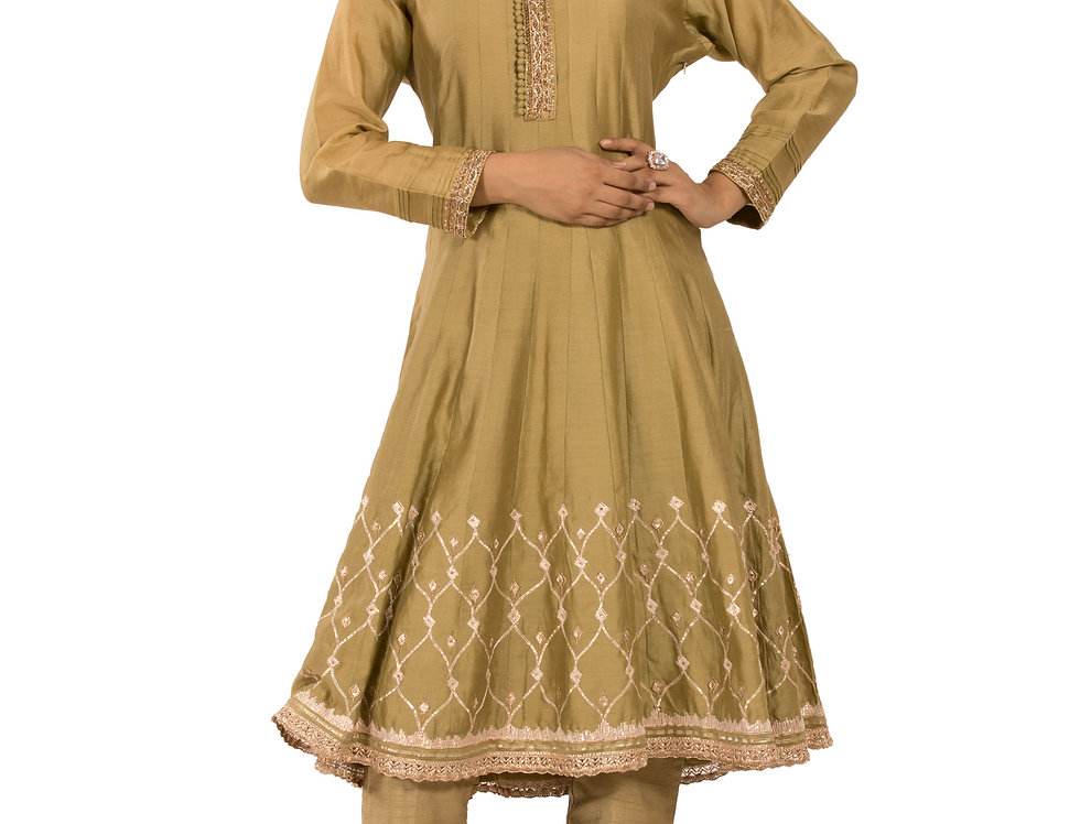 Mehendi Green Base Readymade Suit with Pants (Style Code: 2345744)