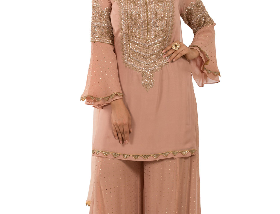 Dusty Pink Base Readymade Suit with Sharara & Dupatta (Style Code: 2390366)
