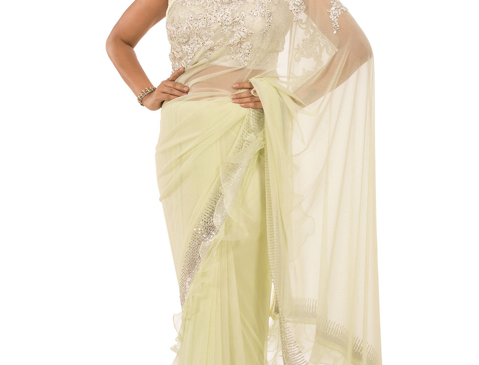Lime Green Net Saree with Thread & Stone Work with Blouse (Style Code: 2386909)