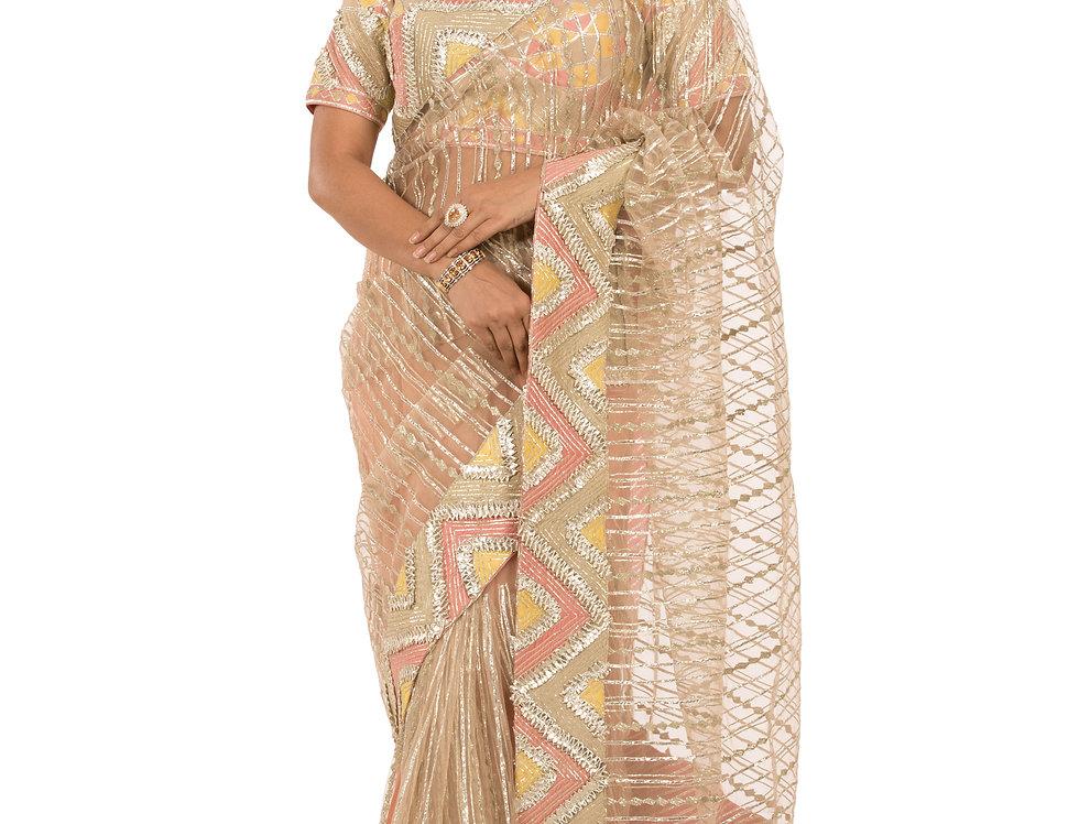 Peach Base Net Saree with Gota Patti Work & Blouse(Code: 2359112)
