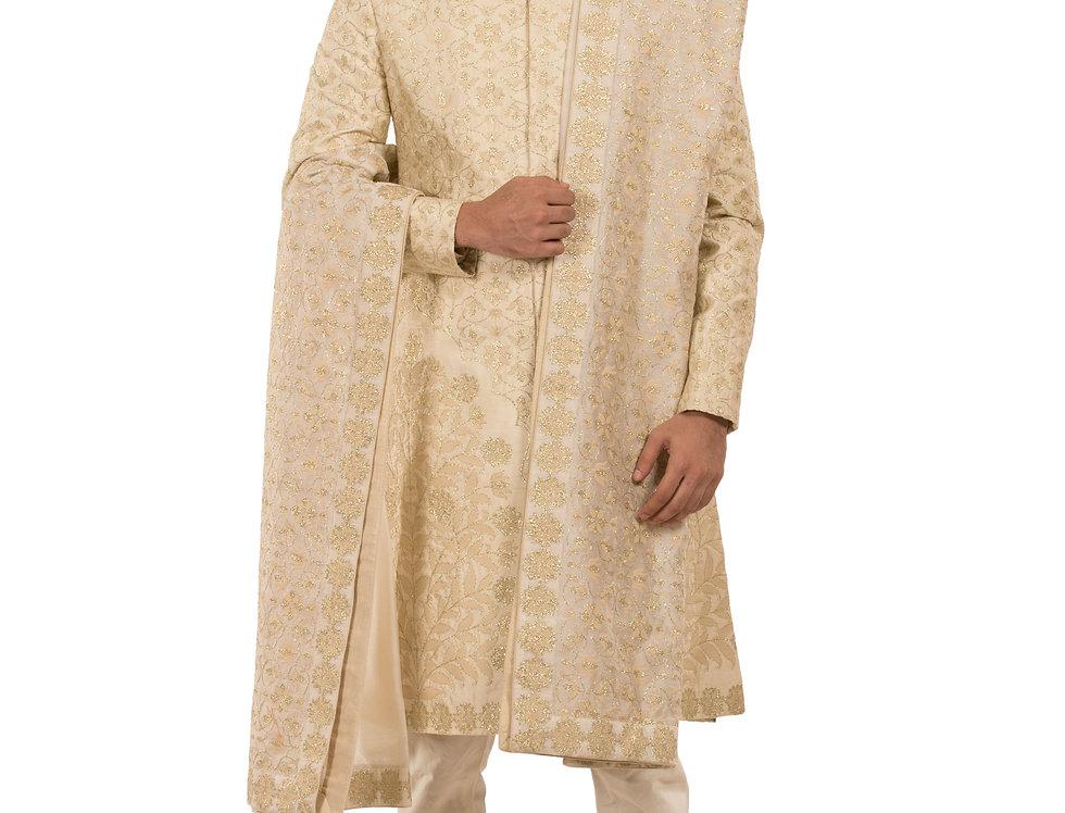 Cream Base Dupion Silk Sherwani with Thread Work & Stole (Style Code: 2381712)