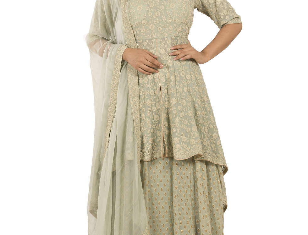 Pista Base Readymade Suit with Skirt and Net Dupatta (Style Code: 2389291)