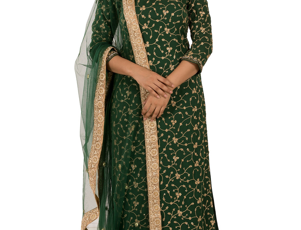 Green Base Readymade Suit with Sharara & Dupatta (Style Code: 2294141)