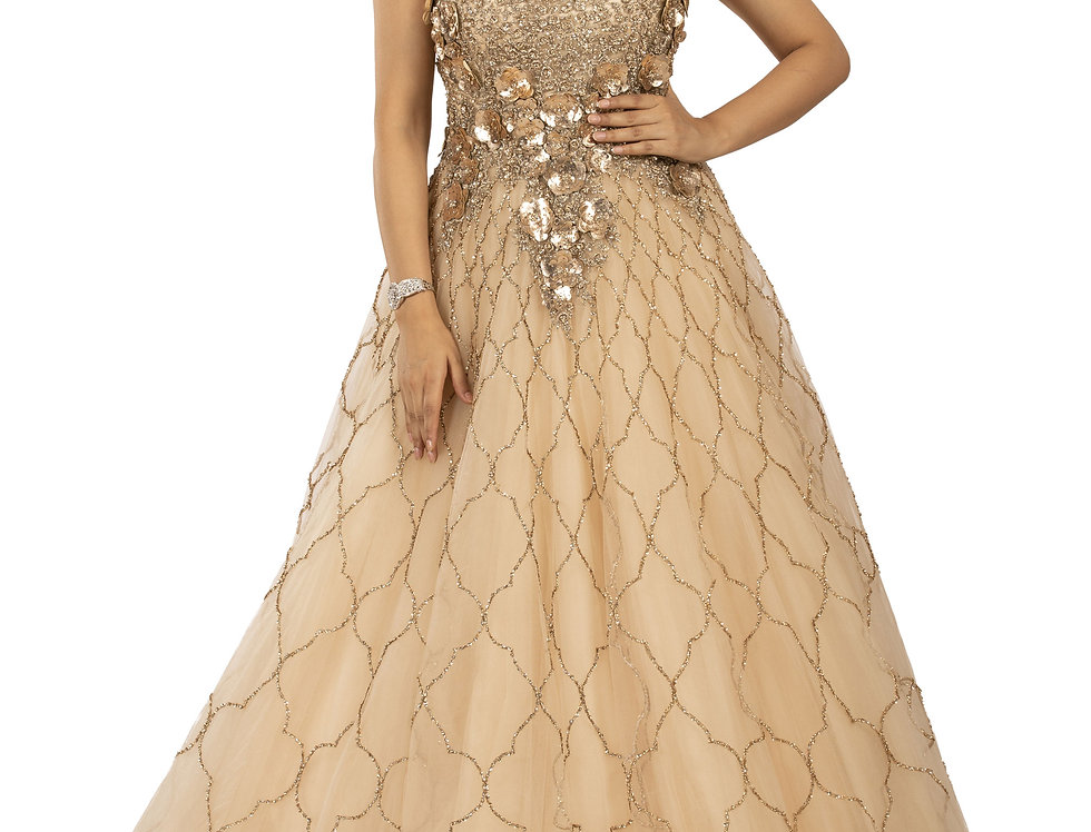 Rose Gold Party Wear Gown with Gold Sequence Work (Style Code: 2365573)