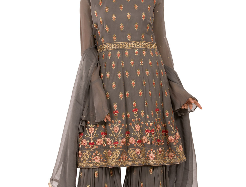 Grey Base Readymade Suit with Sharara & Dupatta (Style Code: 2383460)