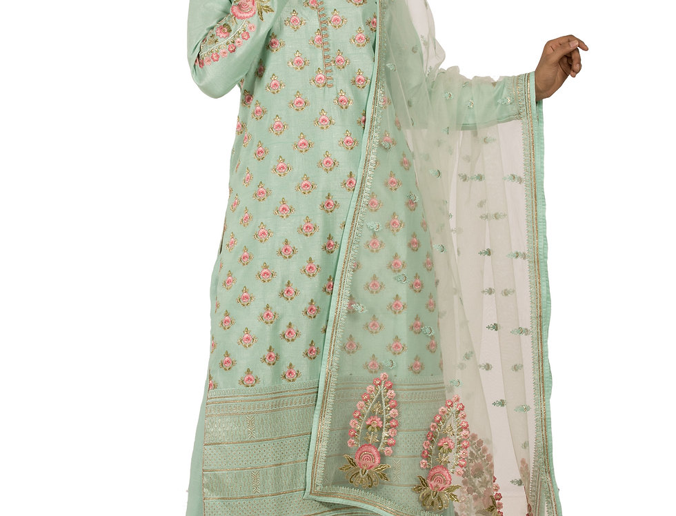 Light Green Readymade Silk Suit with Sharara & Dupatta (Style Code: 2358846)