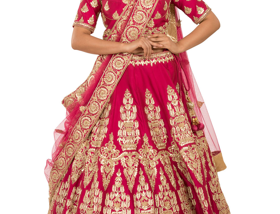 Magenta Silk Lehenga with Zardozi Work with Dupatta (Style Code: 2271121)