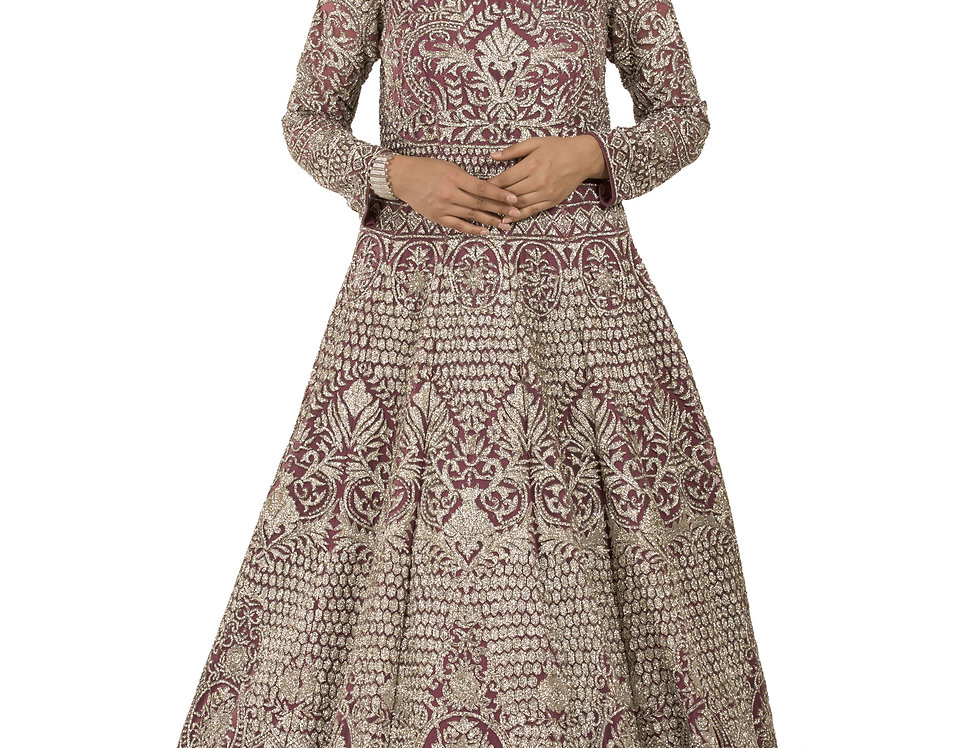Onion Pink Party Wear Gown with Silver Crystal Work (Style Code: 2308528)