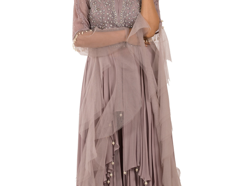Light Mauve Readymade Suit with Sharara (Style Code: 2388476)