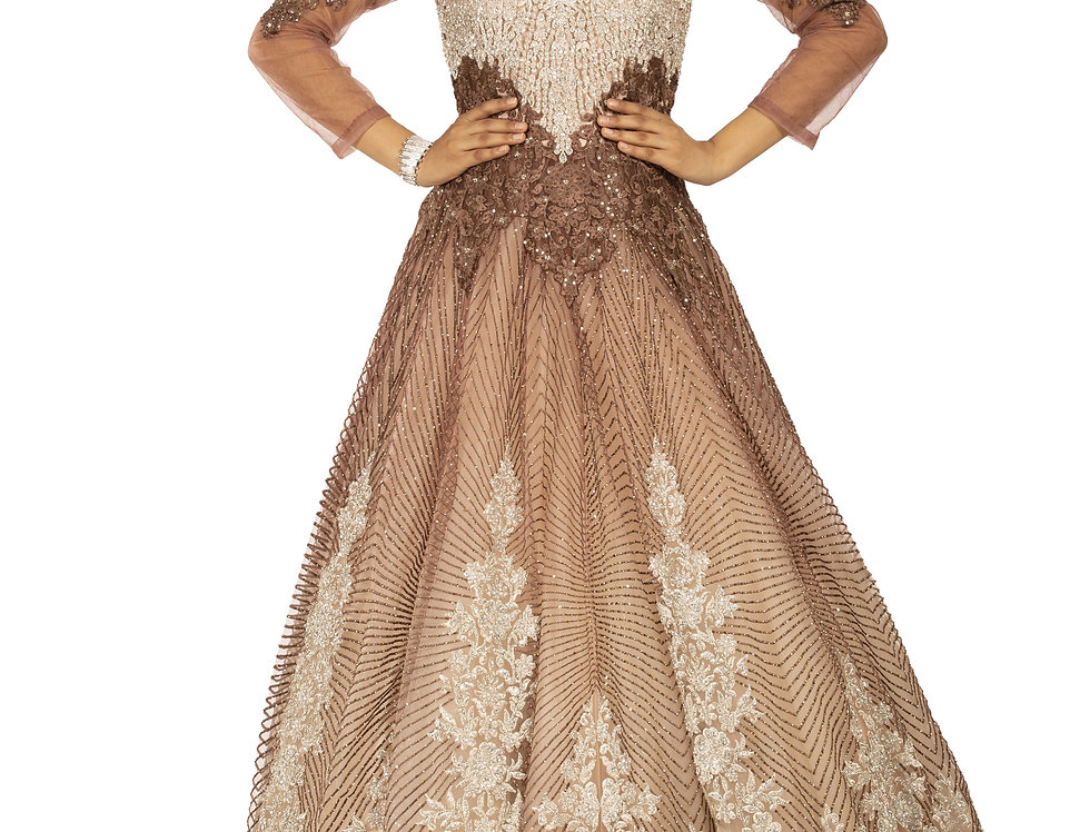 Light Brown & Peach Party Wear Gown with Silver Embroidery (Style Code: 2366389)