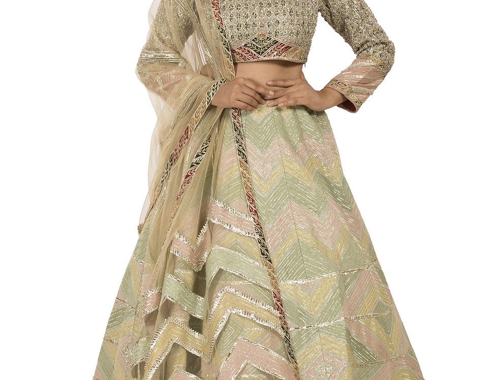 Multicolor Pista Shade Silk Lehenga with Dupatta (Style Code: 2373277)
