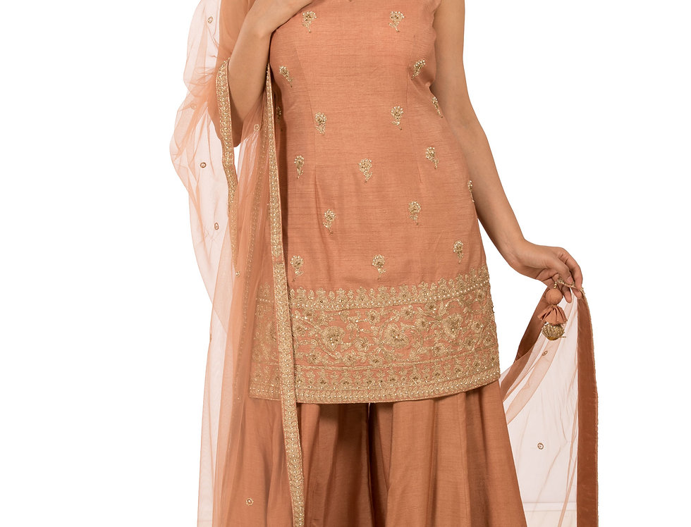 Dusty Peach Readymade Silk Suit with Sharara & Dupatta (Style Code: 2308871)